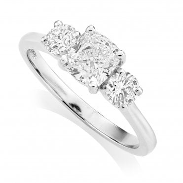 Platinum 1.47ct Three Stone Diamond Ring GIA Centre
