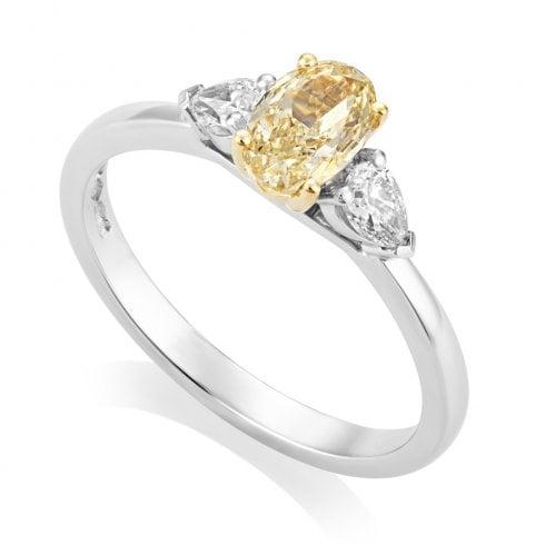 Platinum/18ct 1.00ct Diamond Ring with IGI Natural Yellow Centre