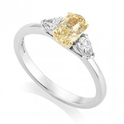 Platinum/18ct 1.00ct Diamond Ring with IGI Natural Yellow Centre