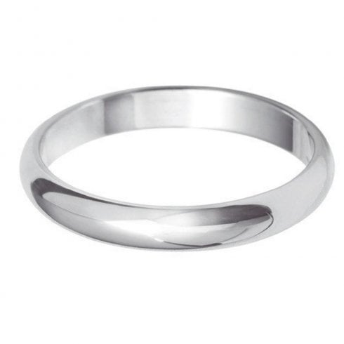 Platinum 3.0mm D-shaped Profile Wedding Ring