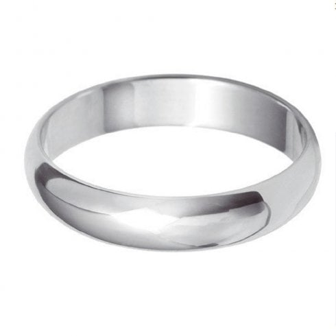 Platinum 4.0mm D-shaped Profile Wedding Ring