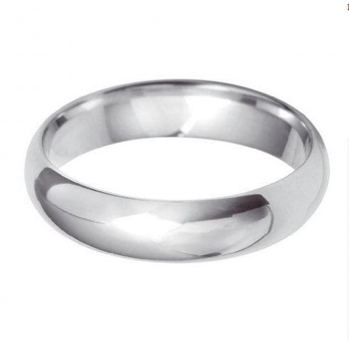 Platinum 5.0mm D-shape Profile Wedding Ring