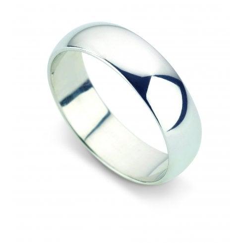 Platinum 6.0mm D-shaped Profile Wedding Ring