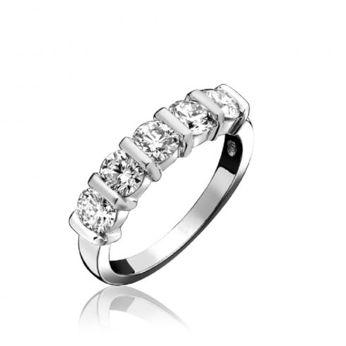 Platinum And Diamond Bar Set Half Eternity Ring
