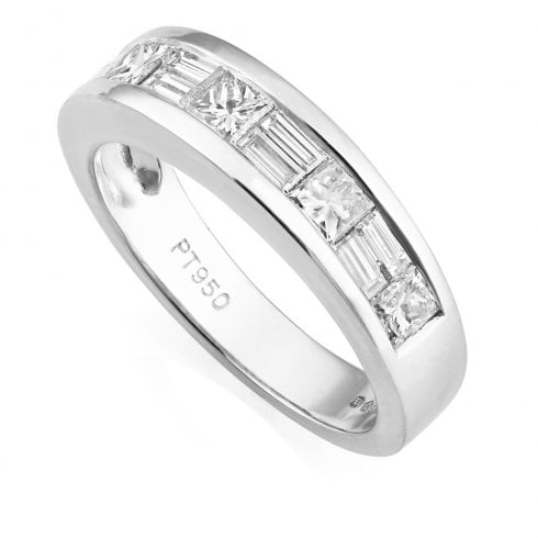 Platinum and Diamond Channel Set Half Eternity Ring