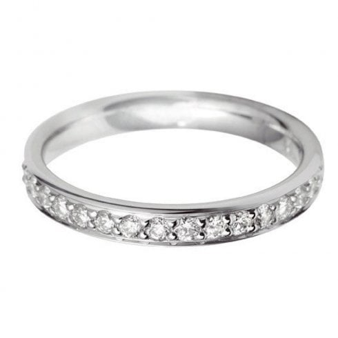 Platinum And Diamond Grain Set Half Eternity Ring