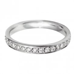 Platinum And Diamond Grain Set Half Eternity Ring