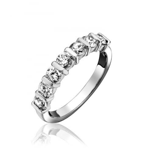 Platinum & Diamond Bar Set Half Eternity Ring
