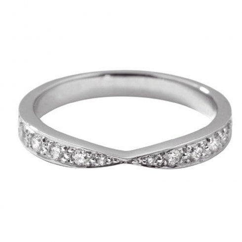 Platinum Diamond Centre Pinch Wedding Ring
