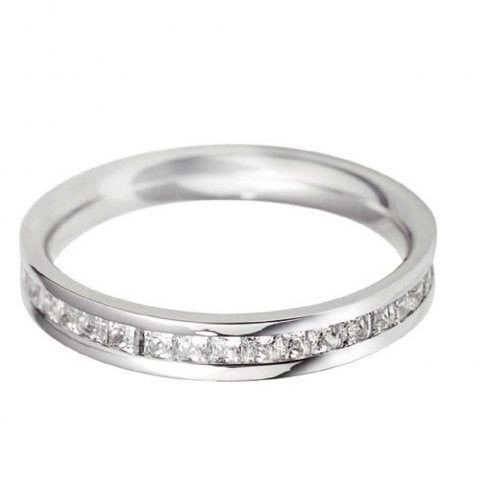 Platinum Diamond Princess Cut Full Hoop Ring
