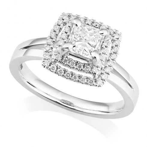 Platinum Diamond Princess Cut Halo Cluster Ring