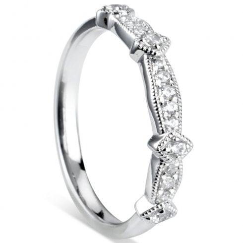 Platinum Diamond Vintage Half Eternity Ring