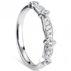 Platinum Diamond Vintage Half Eternity Ring