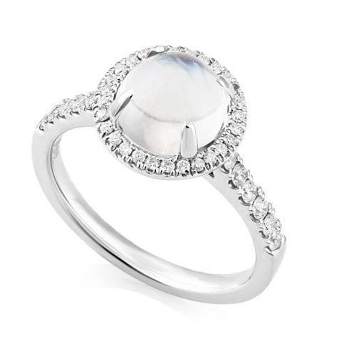 Platinum Moonstone & Diamond Halo Ring