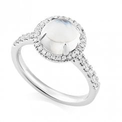Platinum Moonstone & Diamond Halo Ring