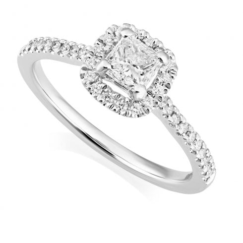 Platinum Princess Cut Diamond Halo Cluster Ring