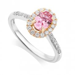 Platinum & Rose Gold Pink Sapphire & Diamond Cluster Ring