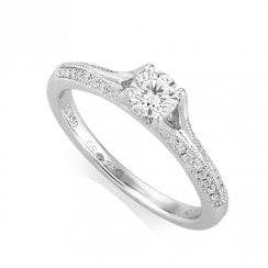 Platinum Split Shoulder Diamond Ring