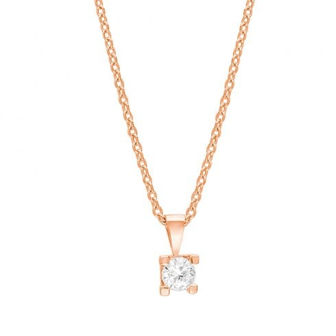 Rose Gold Finish Solitaire Pendant