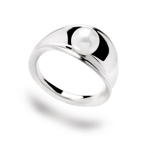 Silver Concave Pearl Ring