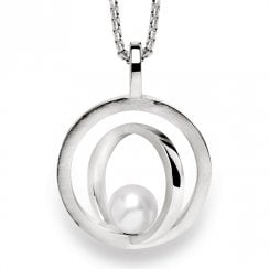 Silver Cultured Pearl Circle Pendant