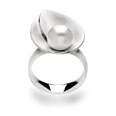 Silver Cultured Pearl Pear Shaped Ring