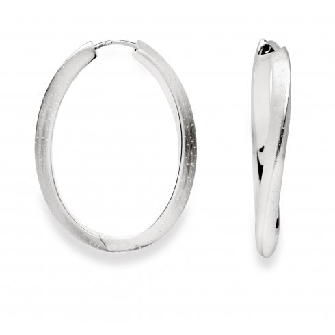 Silver Diamond Dust Hoop Earrings