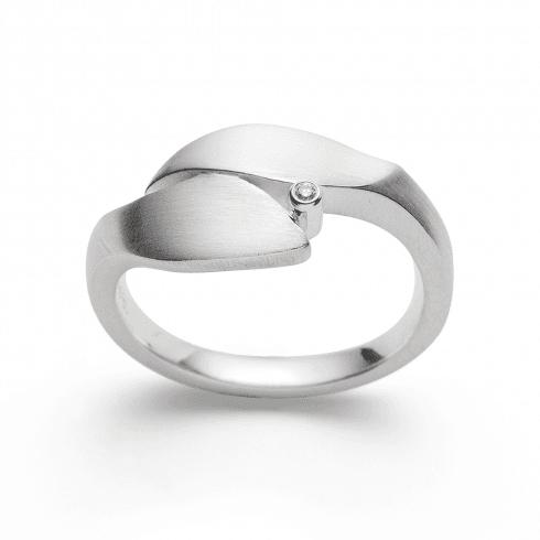 Silver Diamond Leaf Ring