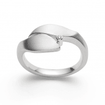 Silver Diamond Leaf Ring