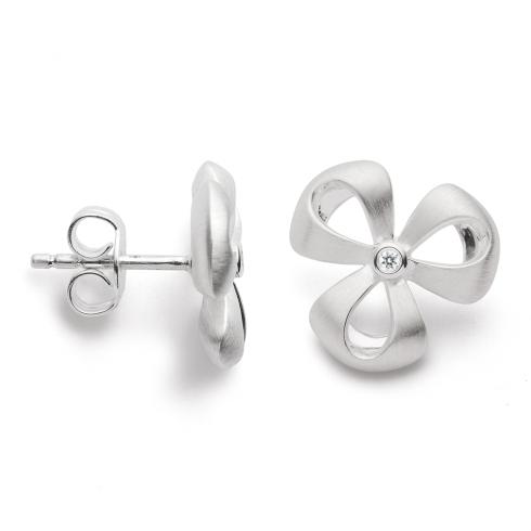 Silver Diamond Set Flower Earrings