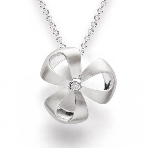 Silver Diamond Set Flower Pendant