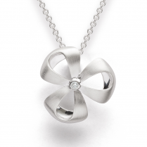 Silver Diamond Set Flower Pendant