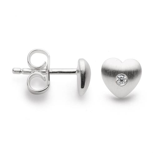 Silver Diamond Set Heart Earrings