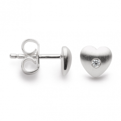 Silver Diamond Set Heart Earrings
