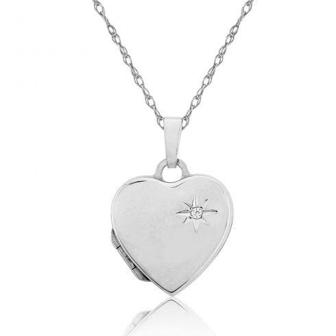 Silver Diamond Set Heart Locket
