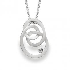 Silver Diamond Set Loop Pendant