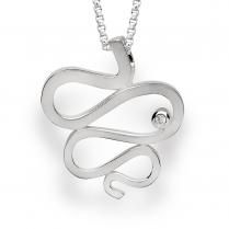 Silver Diamond Squiggle Pendant