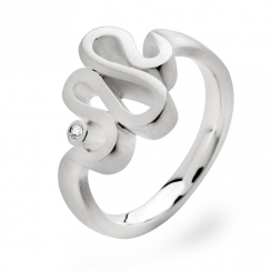 Silver Diamond Squiggle Ring