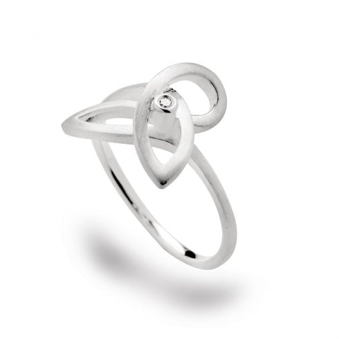 Silver Diamond Swirl Ring