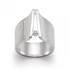 Silver & Diamond Textured Ring