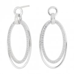 Silver Double Oval Drop Earrings