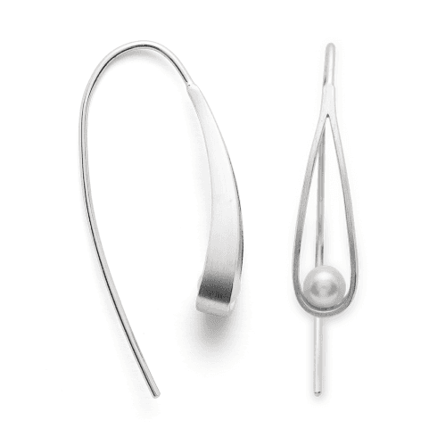 Silver Earrings with Freshwater Cultured Pearl