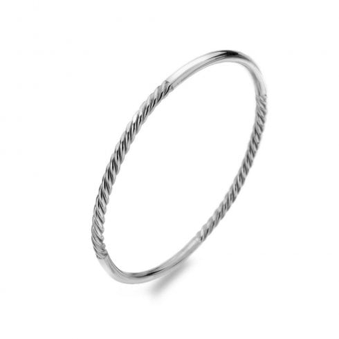 Silver Heritage Contrast Twist Wire Bangle