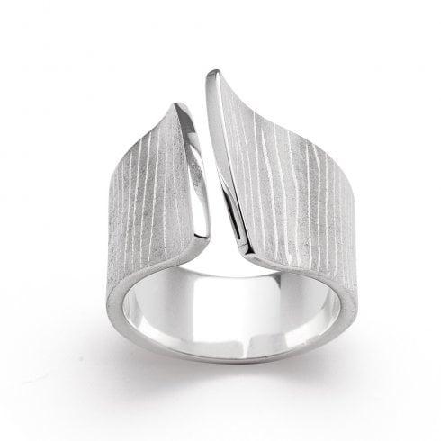 Silver Open Bark Finish Ring