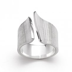 Silver Open Bark Finish Ring