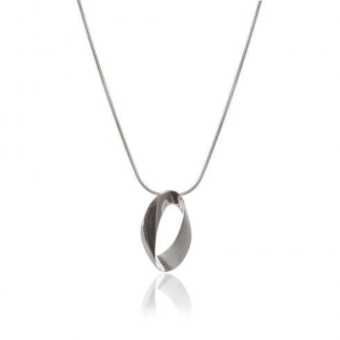 Silver Open Oval Ribbon Pendant