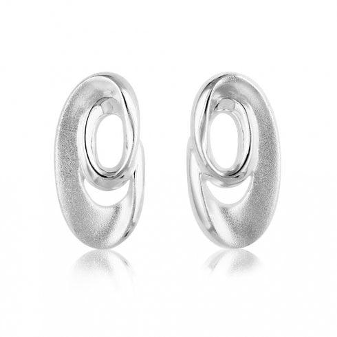 Silver Oval Double Loop Earrings
