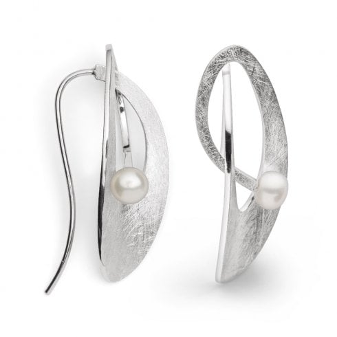 Silver Pearl Hook Earrings