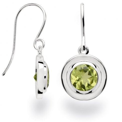 Silver Peridot Hook Earrings