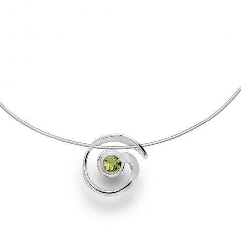 Silver Peridot Swirl Pendant